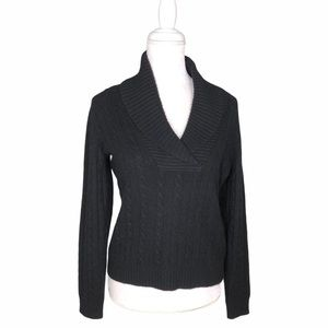 Ralph Lauren cashmere black cable-knit sweater